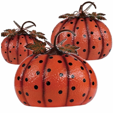 Polka Dot Metal Pumpkins (Set of 3) - Click to enlarge