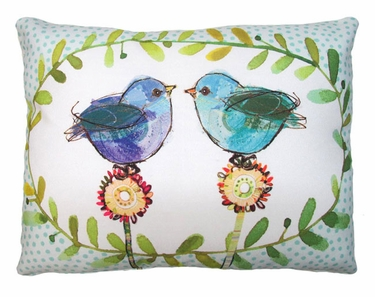 Polkadot Birds Outdoor Pillow - Click to enlarge