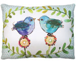 Polkadot Birds Outdoor Pillow