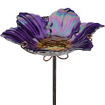 Purple Glass Bird Bath/Feeder Stake