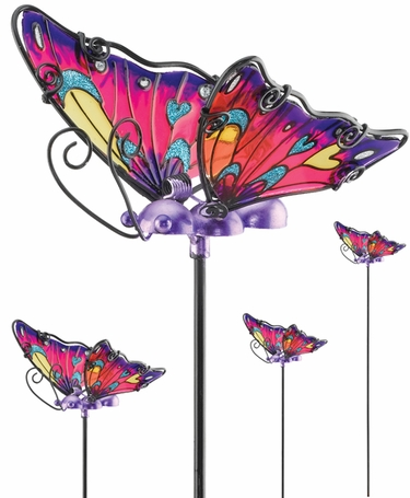Purple Glass Butterfly Picks (Set of 6) - Click to enlarge