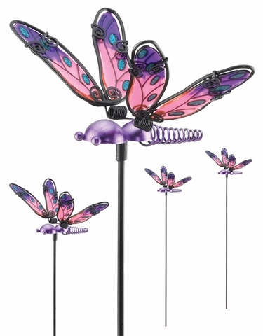 Purple Glass Dragonfly Picks (Set of 6) - Click to enlarge