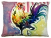 Purple Rooster Outdoor Pillow