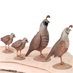 Metal Quail Family Decor (Set of 4)