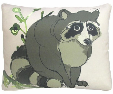 Raccoon in Forest Outdoor Pillow - Click to enlarge