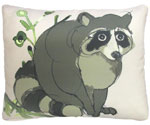 Raccoon in Forest Outdoor Pillow