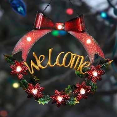 Red Bow LED Welcome Garland Wreath - Click to enlarge