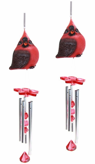 Audubon Red Cardinal Wind Chimes (Set of 2) - Click to enlarge