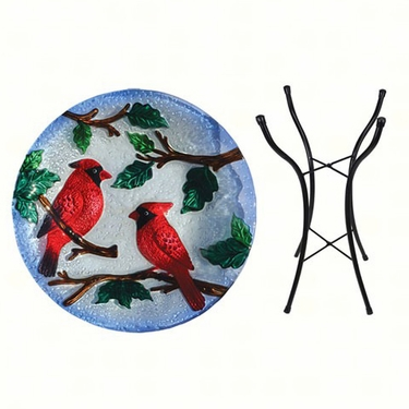 Red Cardinals Glass Birdbath w/Stand - Click to enlarge