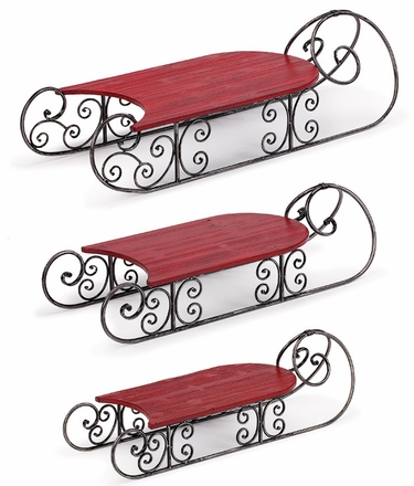 Holiday Red Display Sleds (Set of 3) - Click to enlarge