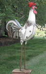 "70"" Giant Iron Garden Rooster - White"
