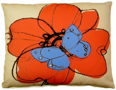 Red Flower w/Butterfly Outdoor Pillow - Click to enlarge
