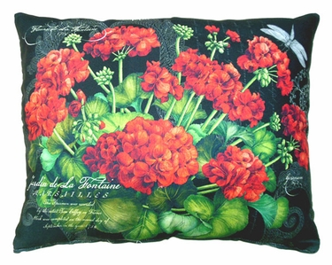 Red Geranium/Black Outdoor Pillow - Click to enlarge