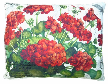 Red Geranium/White Outdoor Pillow - Click to enlarge