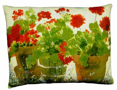 Red Geraniums Outdoor Pillow - Click to enlarge