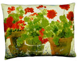 Red Geraniums Outdoor Pillow
