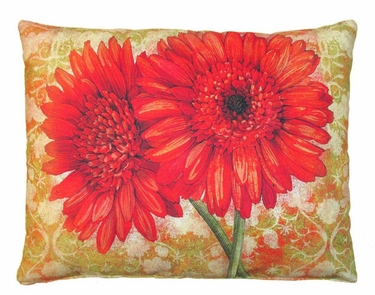 Red Gerbera Pair Outdoor Pillow - Click to enlarge