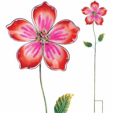 Red Hibiscus Glass Flower Stake - Click to enlarge
