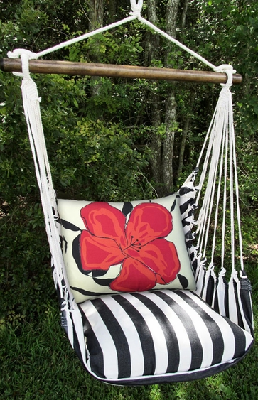 True Black Red Hibiscus Hammock Chair Swing Set - Click to enlarge