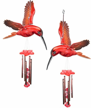 Red Hummingbird Wind Chimes (Set of 2) - Click to enlarge