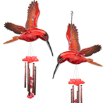 Red Hummingbird Wind Chimes (Set of 2)