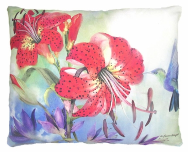 Red Lilies Outdoor Pillow - Click to enlarge