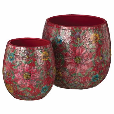 Red Mosaic Planters Set - Click to enlarge