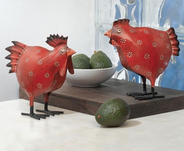 Red Rooster & Hen (Set of 2) - Click to enlarge