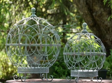 Round Globe Plant Stands (Set of 2) - Frosted Green - Click to enlarge