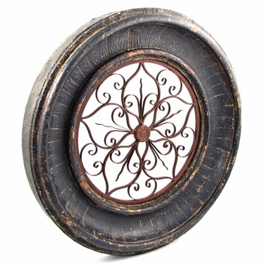 Round Wooden Wall Frame w/Iron Decor - Tuscany Black Finish - Click to enlarge