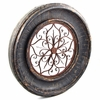 Round Wooden Wall Frame w/Iron Decor - Tuscany Black Finish