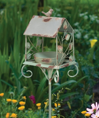 Rustic Birdhouse Feeder Stake - Click to enlarge