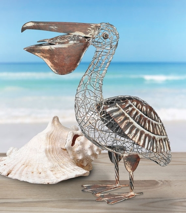 Rustic Pelican Bird Decor - Click to enlarge