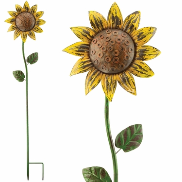 Rustic Sunflower Spinner Stake - Click to enlarge
