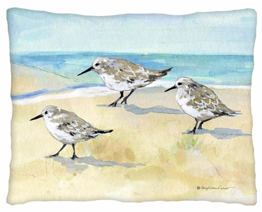 Sandpipers on Beach Outdoor Pillow - Click to enlarge