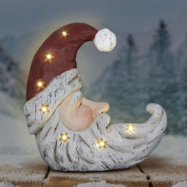 Santa Claus Crescent Moon Statue w/LED Stars - Click to enlarge