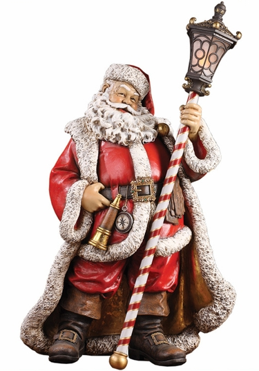 Santa Statue holding LED Lantern - Click to enlarge