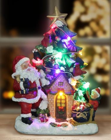 Santa w/LED Tree House - Automatic Timer - Click to enlarge
