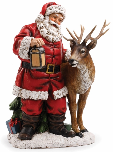 Santa with Reindeer Statue - Click to enlarge