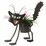 Scary Cat Black Metal Planter