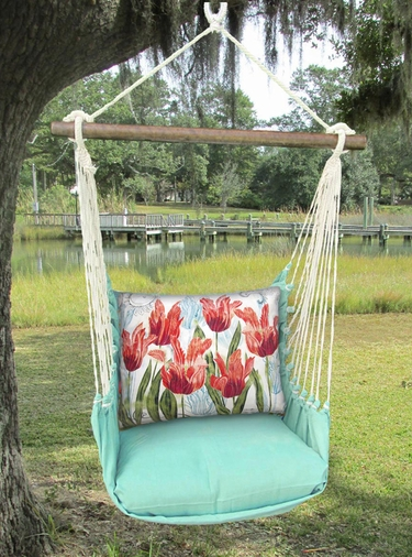 Seafoam Green Perennial Garden 2 Hammock Chair Swing Set - Click to enlarge