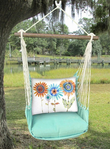 Seafoam Green Sunflowers Hammock Chair Swing Set - Click to enlarge
