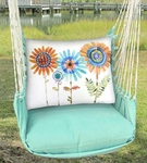 Seafoam Green Sunflowers Hammock Chair Swing Set