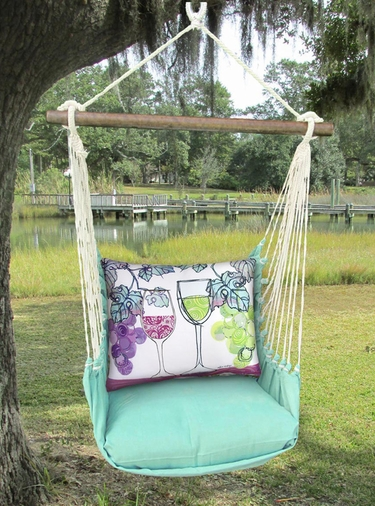 Seafoam Green Wine Glasses Hammock Chair Swing Set - Click to enlarge