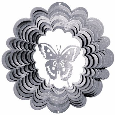 Silver Butterfly Wind Spinner - Click to enlarge