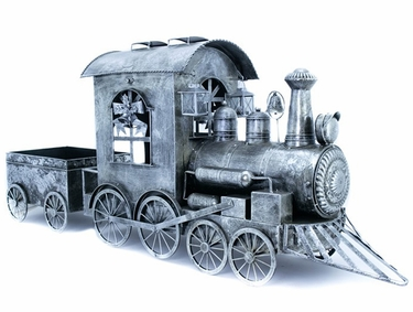 Silver Christmas Train w/Cart - Click to enlarge