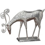Silver Reindeer Feeding Decor w/Base