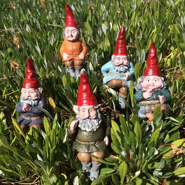 Sitting Gnome Garden Stakes - Click to enlarge