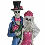 Skeleton Couple w/LED Skirt & Timer