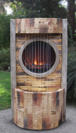 Slate Brick LED Fire & Water Fountain - Click to enlarge